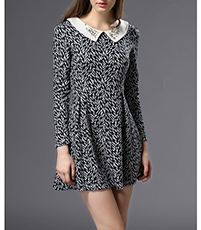 Knit Mini Skater Dress – Long Sleeves / Black and White / Beaded Collar