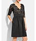 Lace Princess Dress – Black / V-Neck / Knee Length