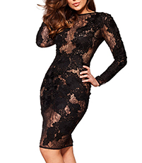 Long Sleeved Lace Bodycon Dress – Black / Slit Neckline