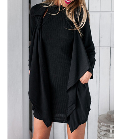 Artful Mini Dress – Solid Black / Slightly Belled Long Sleeves