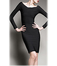 Long Sleeve Bodycon Dress – Solid Black / Dramatic Neckline