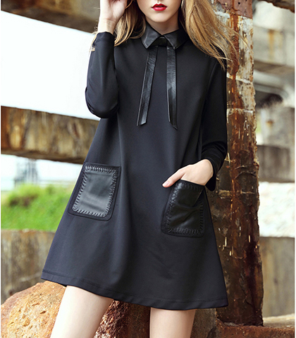 Long Sleeve Tent Dress – Solid Black / Satin Collar / Lovely Pointed Satin Collar