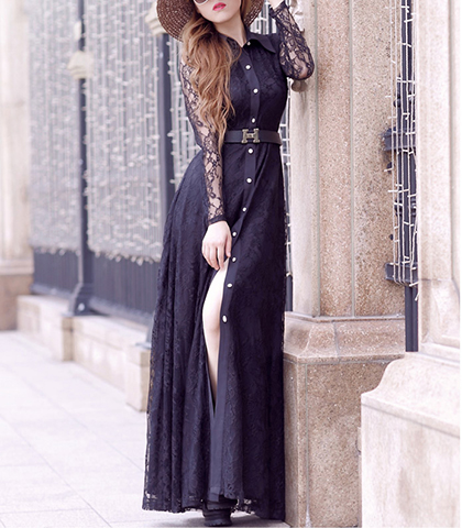 Maxi Dress – Black / Long Sleeve / Lace Sleeves / Pearlized White Buttons