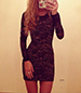 Lace Bodycon Dress – Long Sleeves / Black