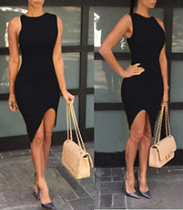 Black Swinging Dress – Raised Hemline / Round Neckline / Sleeveless