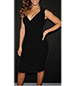 Black Knee Length Dress – Sleeveless / Wrap Bodice / High Waist / Tapered