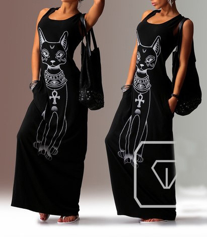 Black Maxi Dress – Feline Graphic / Sleeveless