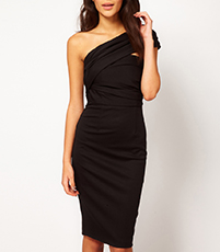 One Shoulder Black Midi Dress – Backless / Vented Hemline / Slim Fit