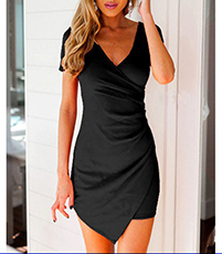 Black Wrap Dress – Short Sleeves / Textured Fabric / Drop Hem / Body Fitting