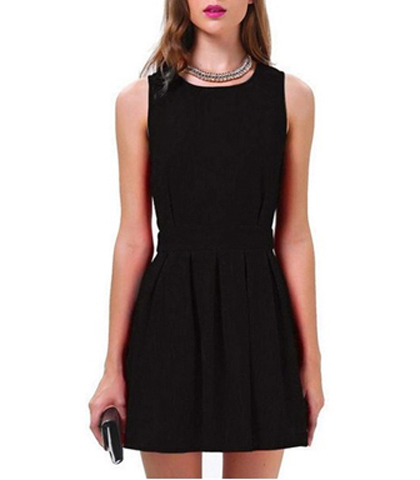 Black Fit And Flare Dress Sleeveless Styling Wide Hemline
