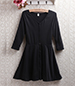 Black Skater Dress – Clean Lines / Mid Length Sleeves / Buttoned Front