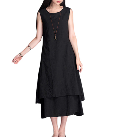 Black Peasant Long Dress – Sleeveless / Drawstring Tie / Dual Hemlines / Crepe Fabric