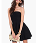 Off The Shoulder Dress – Black / Drop Shoulders / Tapered Waist / Skater Skirt