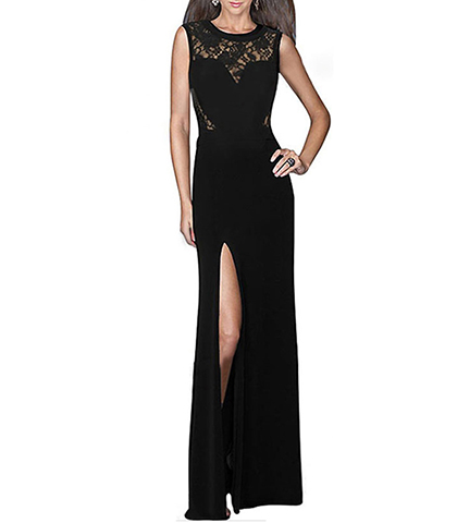 Black Maxi Lace Dress – Floor Length / Split Hem / Sleeveless / Sweetheart Bodice