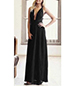 Wrap Neck Dress – Floor Length / Open Back / Sash Bow Tie / Floor Length / Black