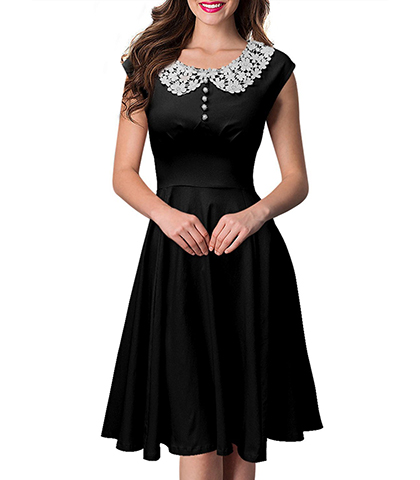 Fit and Flare Dress – Lace Collar / Knee Length / Decorative Buttons