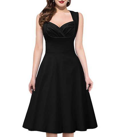 Fit And Flare Black Dress Bustier Bodice Sweetheart Neckline