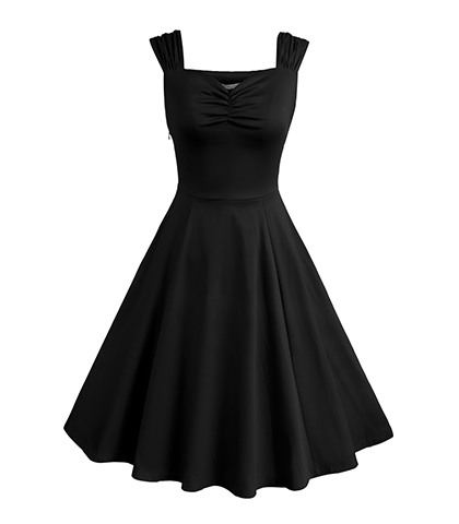 Black A Line Dress – Sleeveless / Pendulum Hemline / Gathered Bodice and Straps