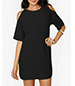 Loose Fitting Soft Chiffon Open Shoulder Dress – Black