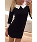 White Trim Collar and Cuffs Schoolgirl Look Mini Dress – Black
