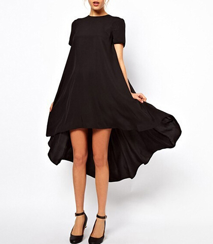 Short Evening Dress – Mini Front and Full Cape-like Train in Back / Black