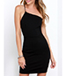 Mini Evening Dress – Spaghetti Strap Action across Back and Shoulder / Black / One Shoulder