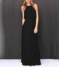 Classic Halter Maxi Length Summer Dress – All Black