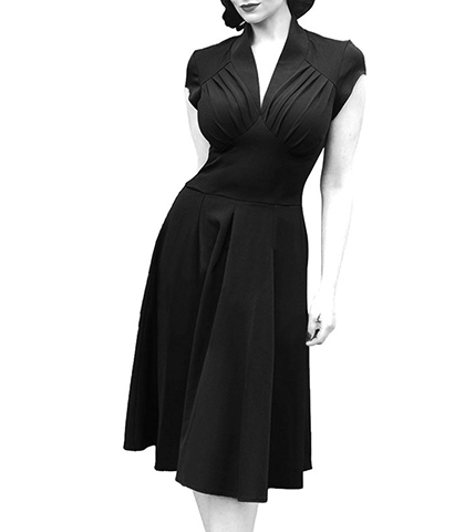 Vintage Movie Star Magic Summer Dress – All Black