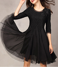 Little Black Chiffon Dress – Fitted Ballerina Style Bodice