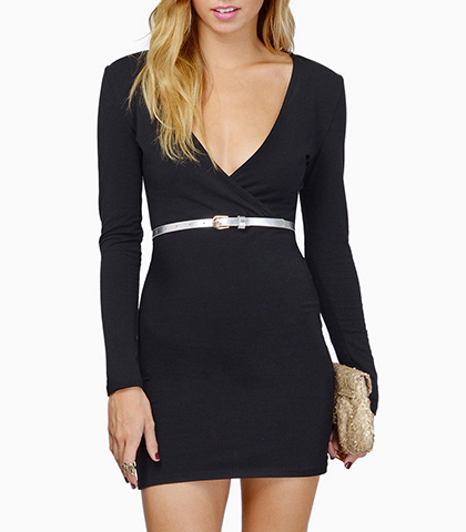 Slim Fitting Dress – Black / Plunging Neckline / Belted / Short Hem / High Waist