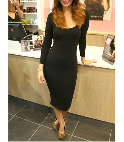 Black Sheath Dress – Deep Scoop Neckline / Fitted Sleeves / Calf Length