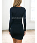 Sexy Deeply Plunging Dress – Open Neckline / Long Sleeves / Tight Fitting