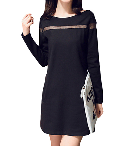 Black Shift Dress – Long Sleeves / Semi Sheer Mesh Insert / Front Welt Pockets