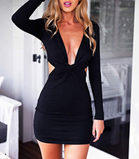 Black Split Bodice Dress – Plunging Neckline / Open Waistline / Short Hem