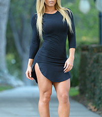 Black Tight Dress – Three Quarter Length Sleeves / Curved Raised Hemline