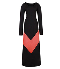Maxi Chevron Dress – Black Coral / Long Sleeves / Wide Round Neckline