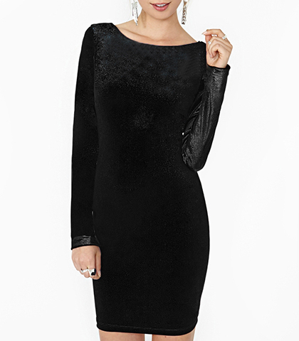 Black Velvet Dress – Backless / Scooped Neckline / Snug Fitting