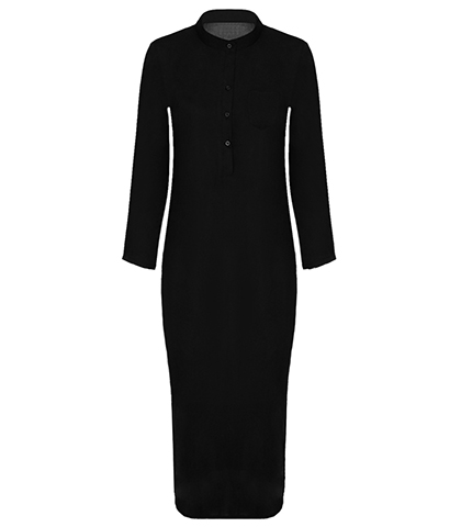 Black Cylinder Dress – Mandarin Collar / Long Sleeves / Buttoned Placket / Midi