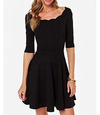 Selene Skater Dress – Black / Off The Shoulder / Scalloped Edges