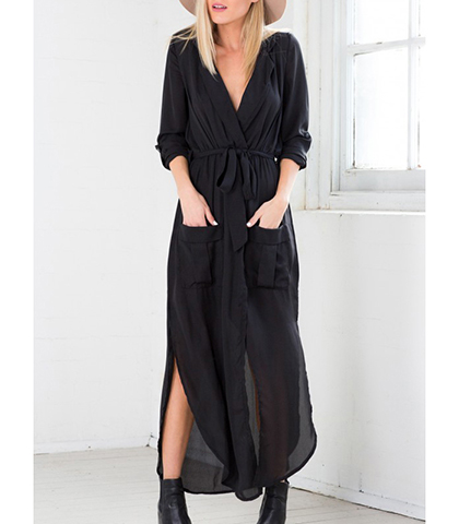 Black Chiffon Dress – Maxi / Side Slits / Front Patch Pockets