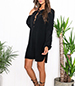 Pirate Tunic Dress – Black / Deep Front Slit Opening