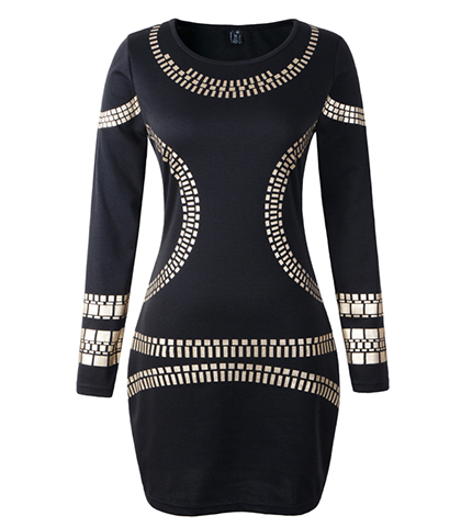 Black Bodycon Dress – Slim Fitting / Gold Curved Embellishments / Long Sleeves
