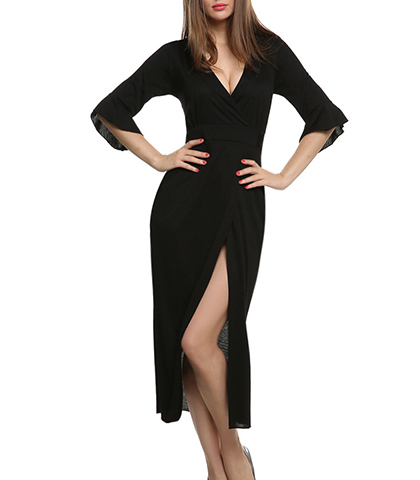 Black Long Dress – Long Sleeves / Plunging Neckline / Large Slit / Wide Waistband