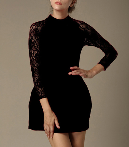 Black Lace Dress – Long Lace Raglan Sleeves / High Collar / Princess Seams / Pleated Front