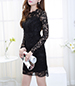 Black Lined Lace Dress – Long Lace Sleeves / Scalloped Edges / Center Zipper Closure