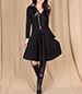 Black Wraparound Dress – Belted / Long Sleeved / V-Neckline / Fit and Flare Style