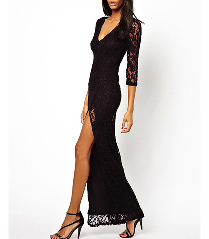 Black Lace Maxi Dress – Sexy Split to Thigh / Bracelet Length Sleeves / Plunging Neckline