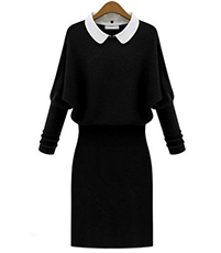 Ribbed Knit Sweater Dress – White Collar / Sweater Cape Style / Bishop Sleeves / Straight Skirt