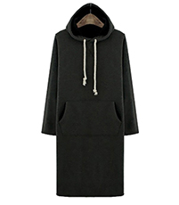 Hooded Dress – Large Front Pockets / Drawstring Ties / Knee Length / Fleece Lined