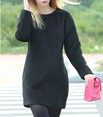 Black Wool Mini Dress – Long Sleeves / Full Length Zipper / Side Pockets